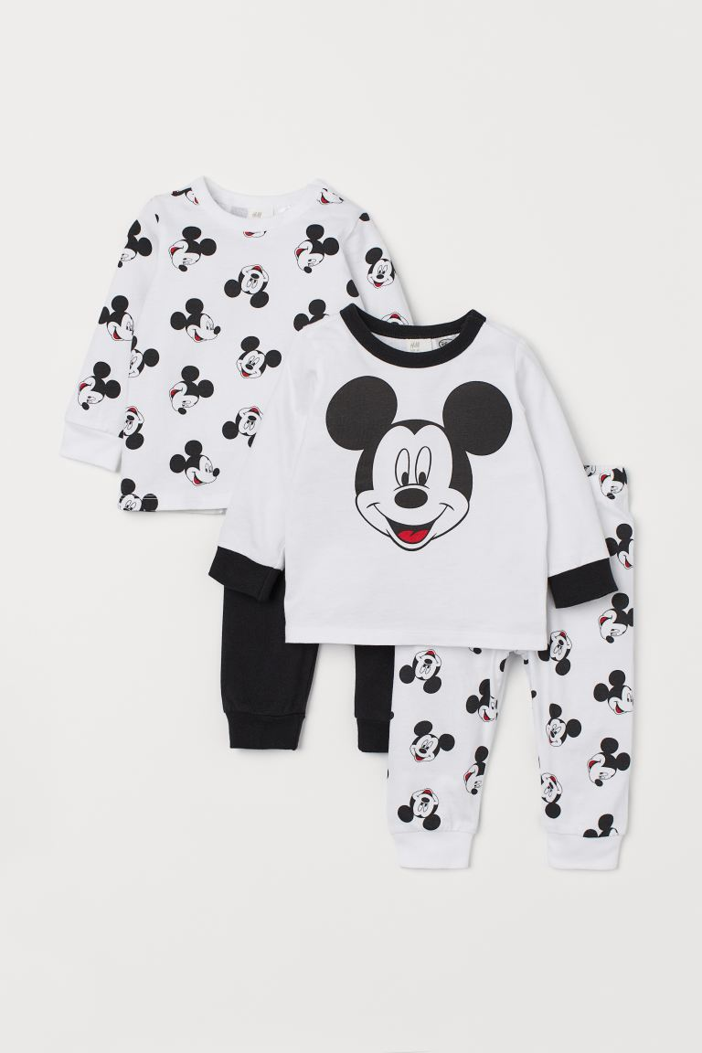 2-pack jersey pyjamas - White/Mickey Mouse - Kids | H&M GB