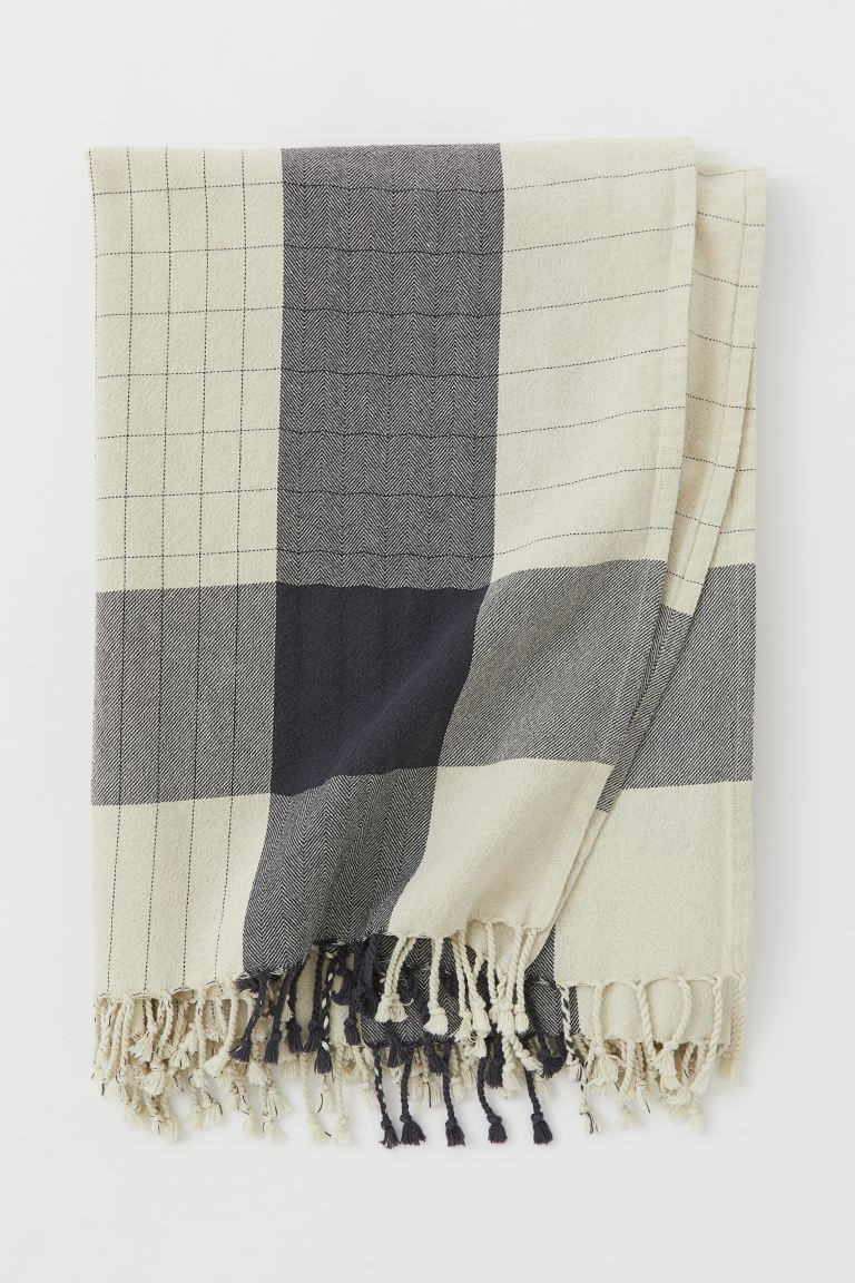 Cotton Tablecloth with Fringe - Natural white/gray - Home All | H&M CA