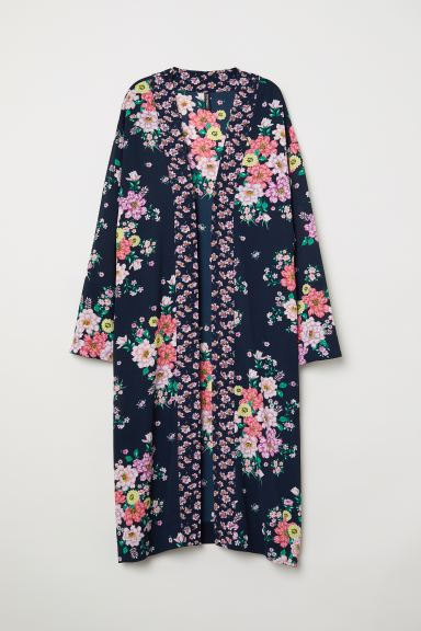 Patterned kimono - Dark blue/Floral - Ladies | H&M GB