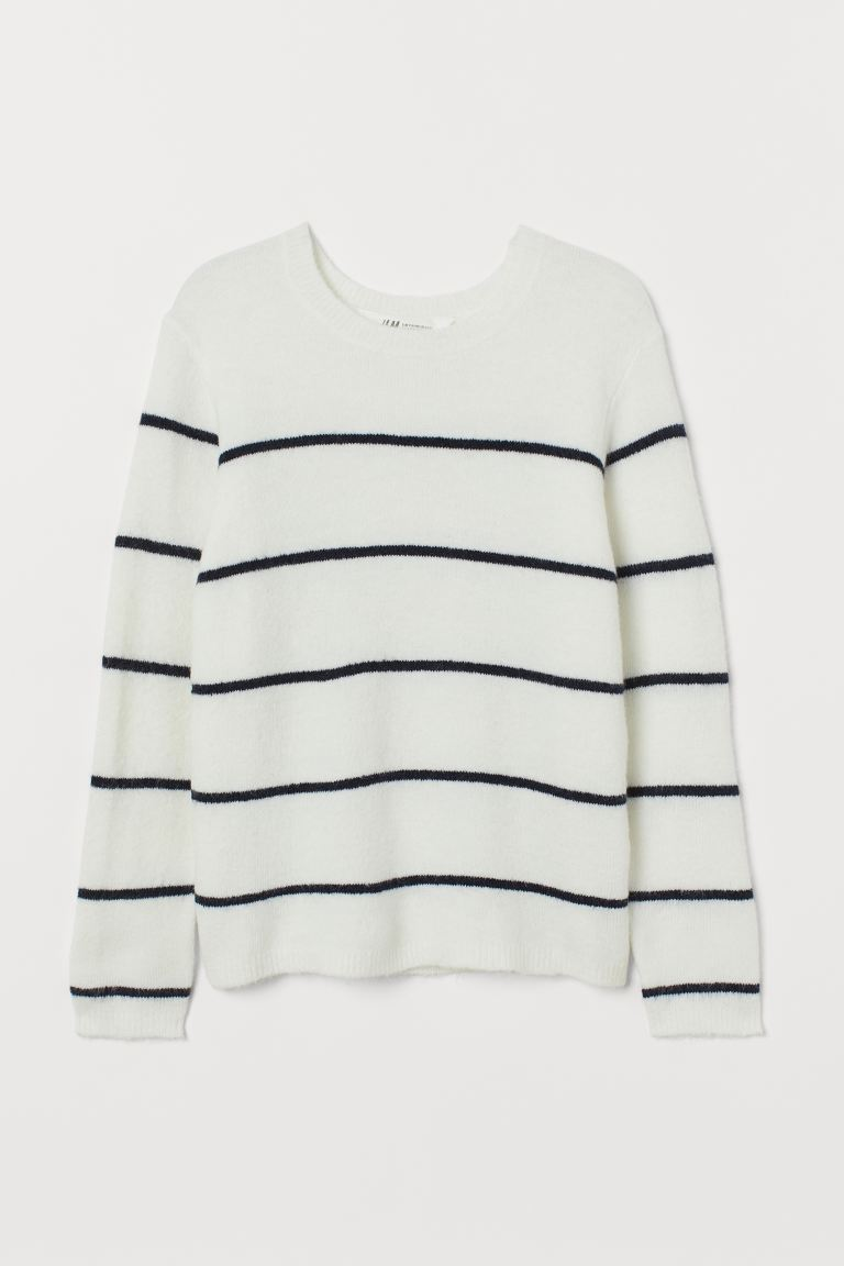 Knitted jumper - White/Striped - Kids | H&M IE