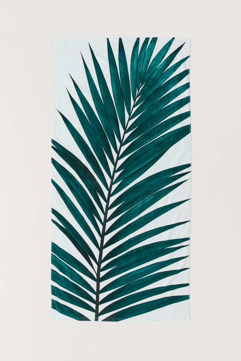 Printed Beach Towel - White/palm leaves - Home All | H&M US