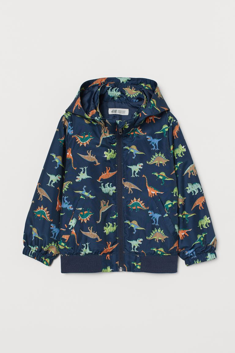 Hooded windbreaker - Dark blue/Dinosaurs - Kids | H&M GB