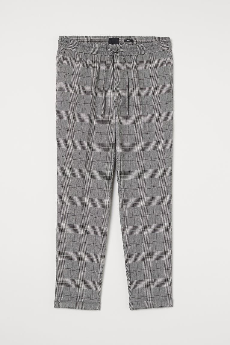 Slim Fit Joggers - Light gray/checked - Men | H&M CA