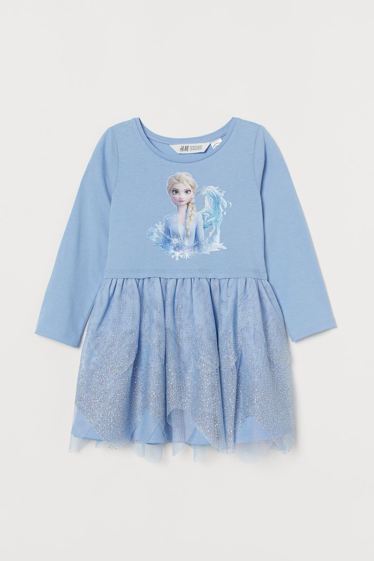 Dress with a tulle skirt - Light blue/Frozen -  | H&M GB