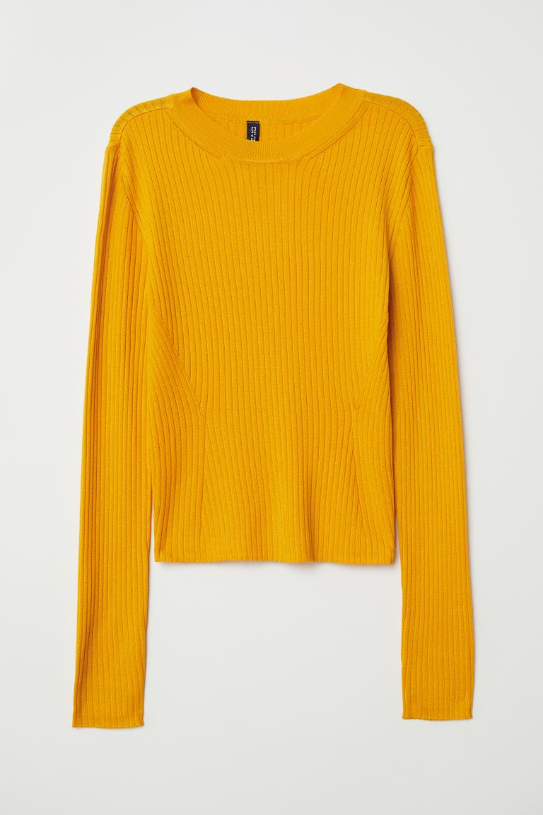 Fine-knit top - Yellow - Ladies | H&M