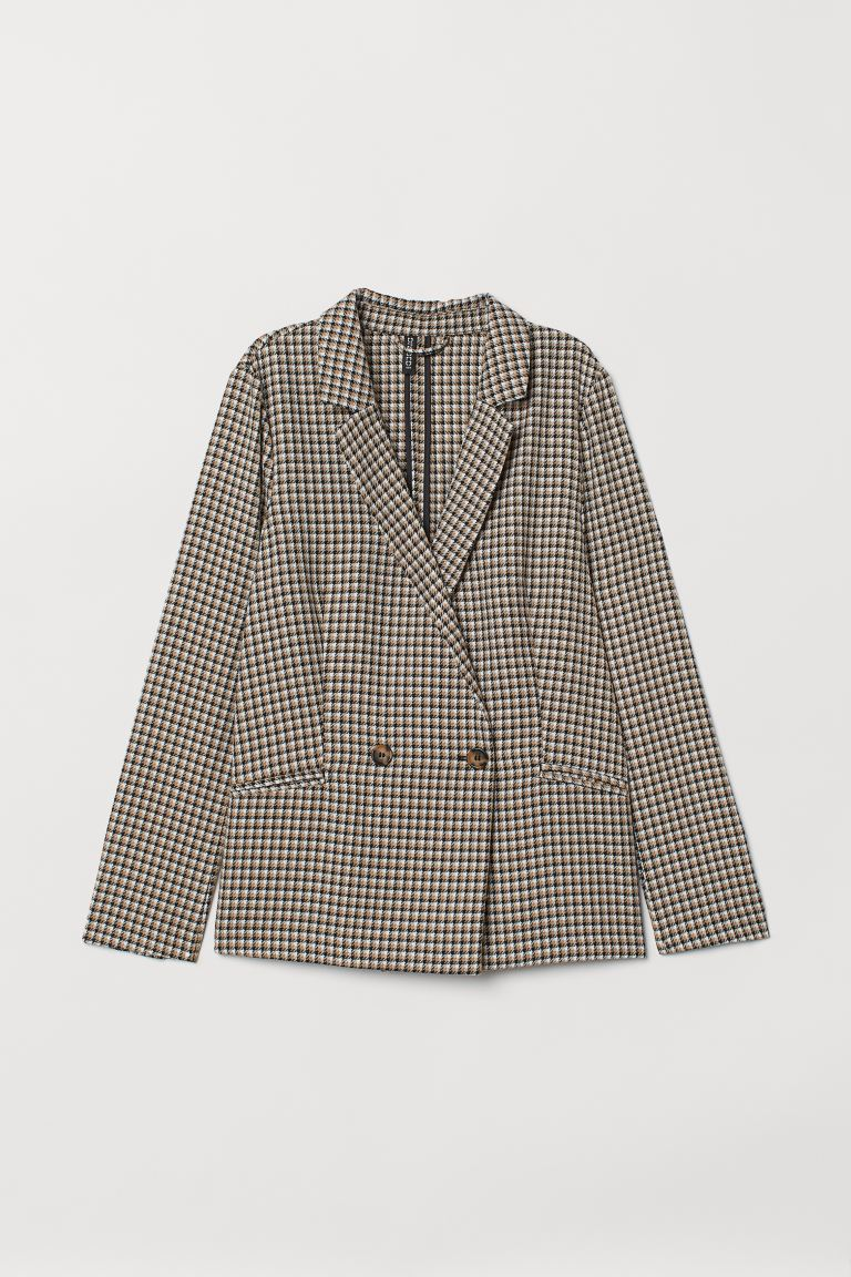 Double-breasted jacket - Beige/Dogtooth-patterned - Ladies | H&M GB