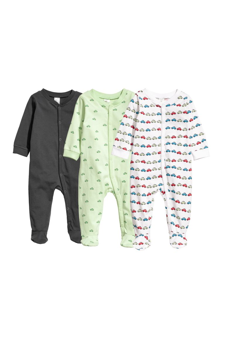 3-pack zip-up pyjamas - Light green/Cars - Kids | H&M GB
