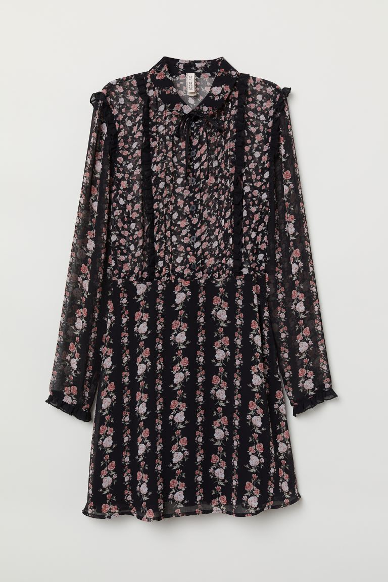 Ruffled Chiffon Dress - Black/floral - Ladies | H&M US