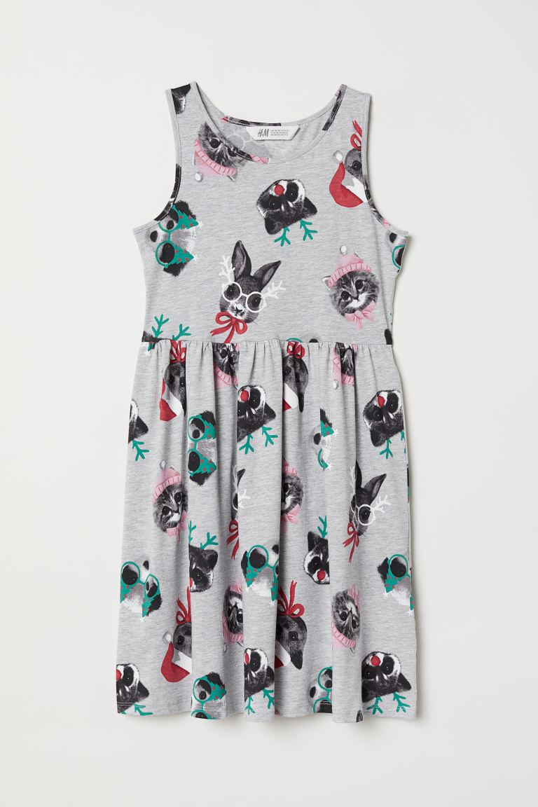 Patterned jersey dress - Light grey marl/Animals - Kids | H&M