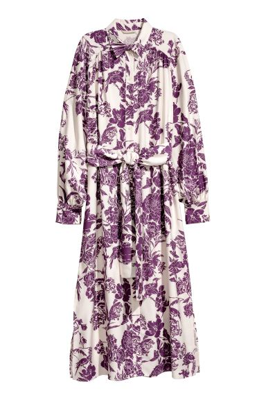 Shirt dress - Cream/Plum - Ladies | H&M GB