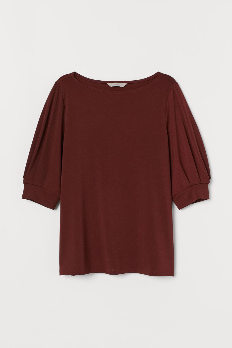 Top jersey increspato - Marrone ruggine - DONNA | H&M CH
