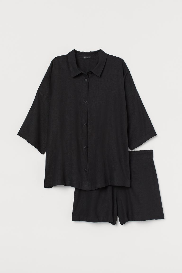 Pyjamas med skjorta och shorts - Svart - Home All | H&M SE