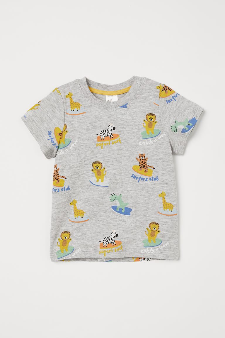 Cotton T-shirt - Light grey marl/Animals - Kids   H&M GB