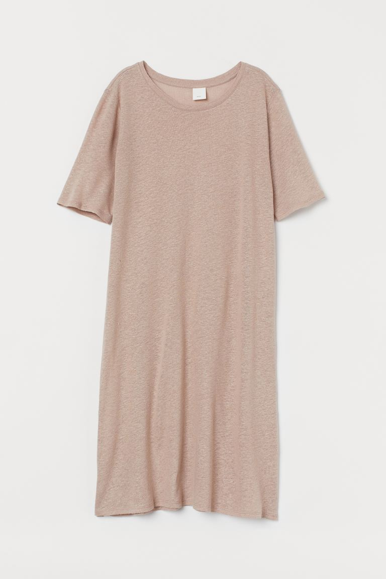 Linen-blend T-shirt Dress - Light beige - Ladies | H&M CA