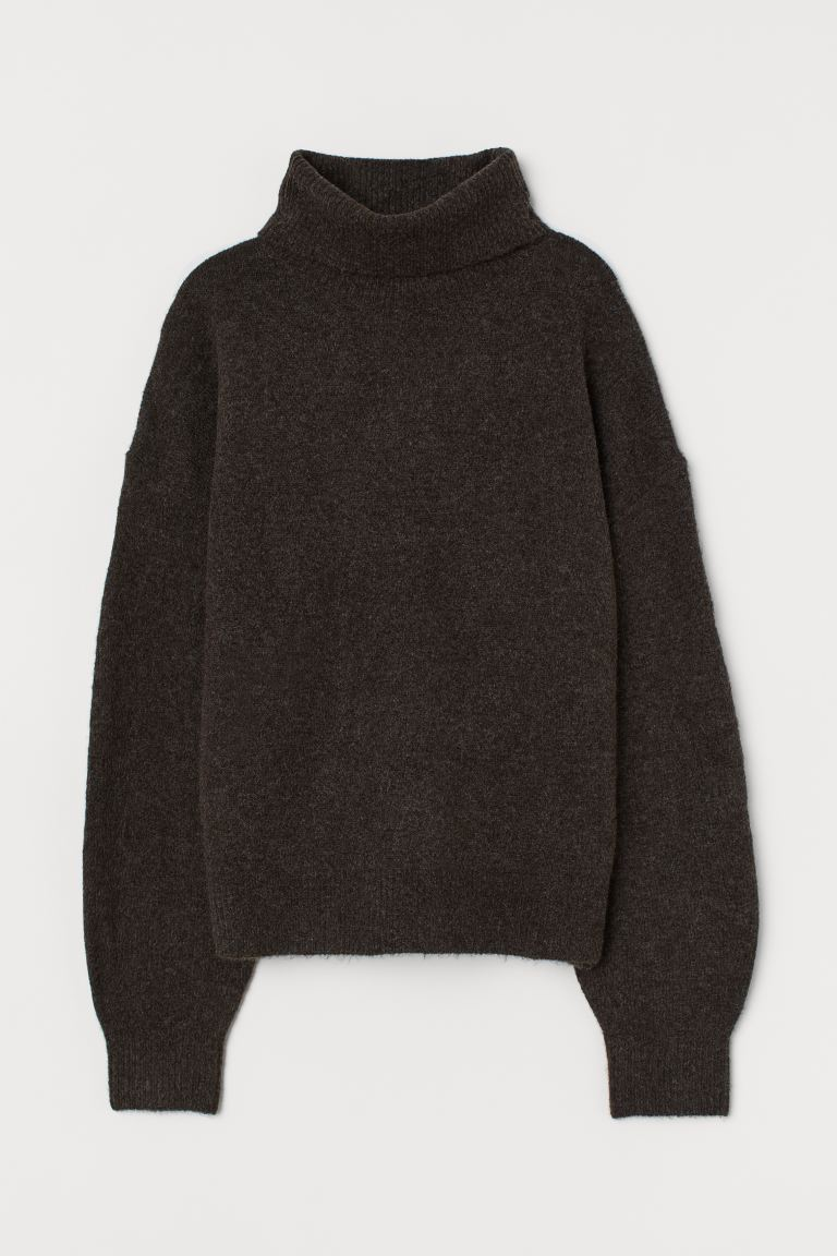 Knitted polo-neck jumper - Dark brown - Ladies | H&M