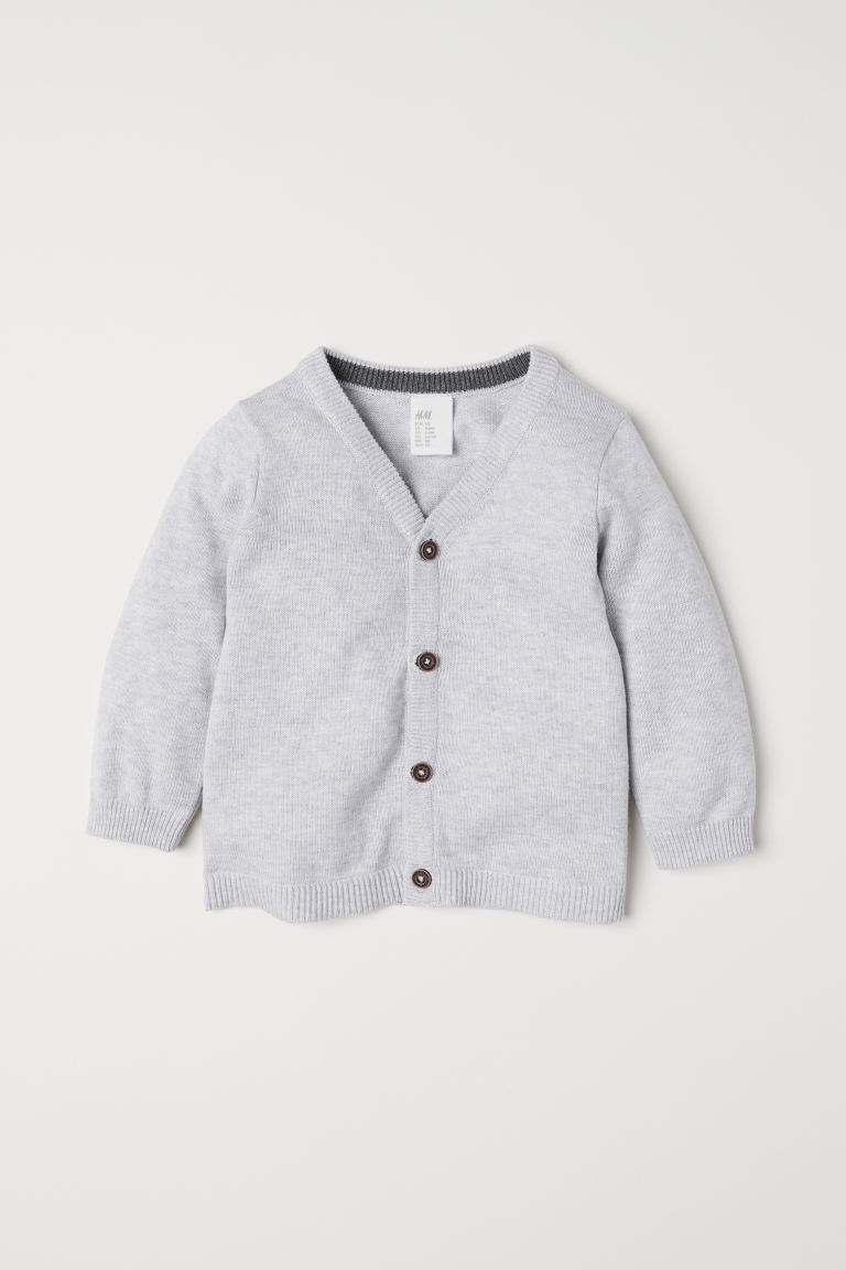Fine-knit Cotton Cardigan - Light gray melange - Kids | H&M US