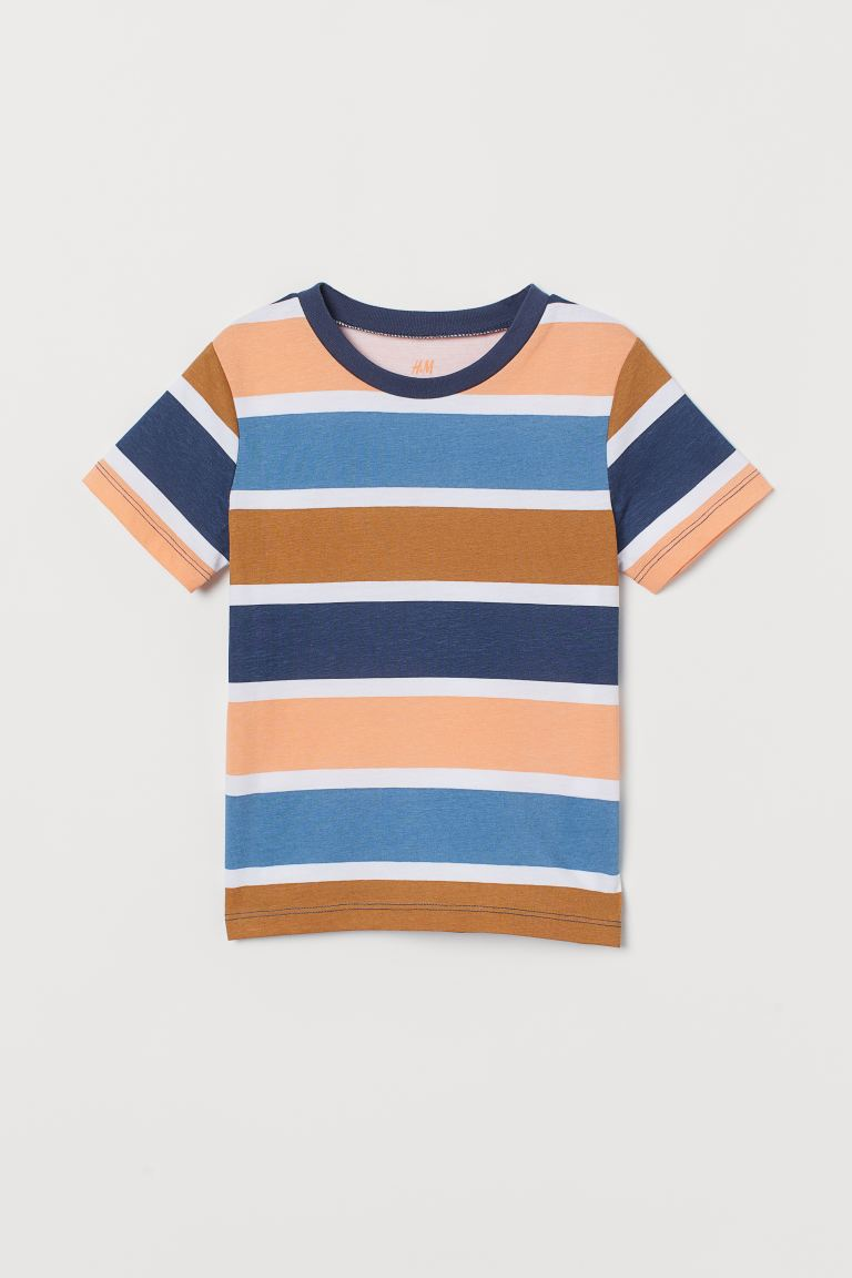 Cotton T-shirt - Light orange/Striped - Kids | H&M IE