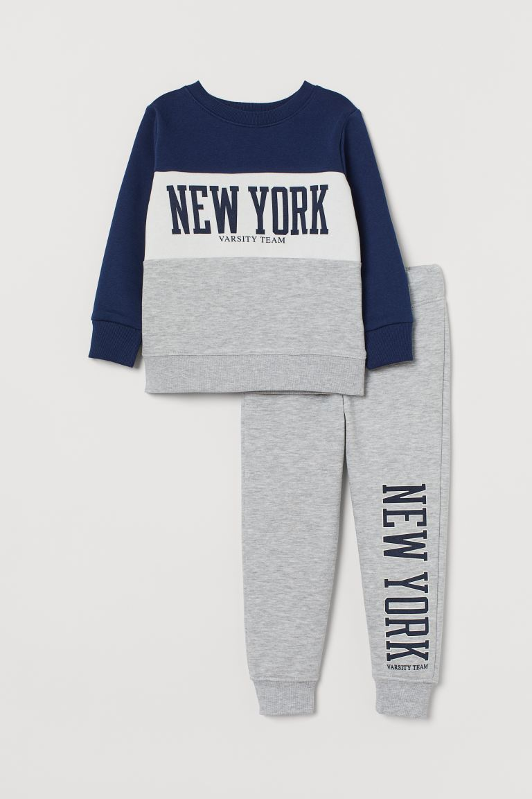 Top and joggers - Light grey marl/New York - Kids | H&M GB