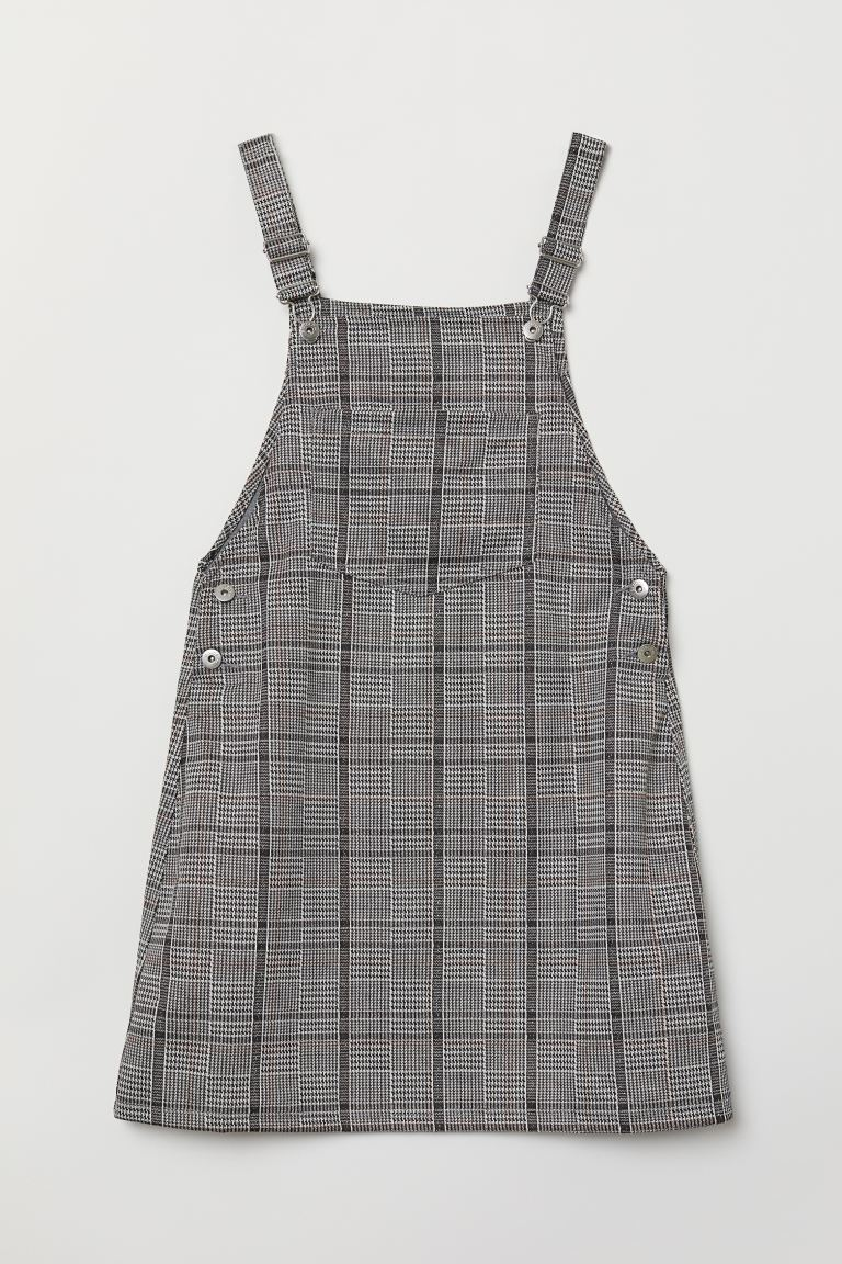 Overall Dress - Dark gray/checked - Ladies | H&M US