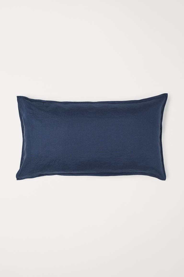 Washed Linen Pillowcase - Dark blue - Home All | H&M US