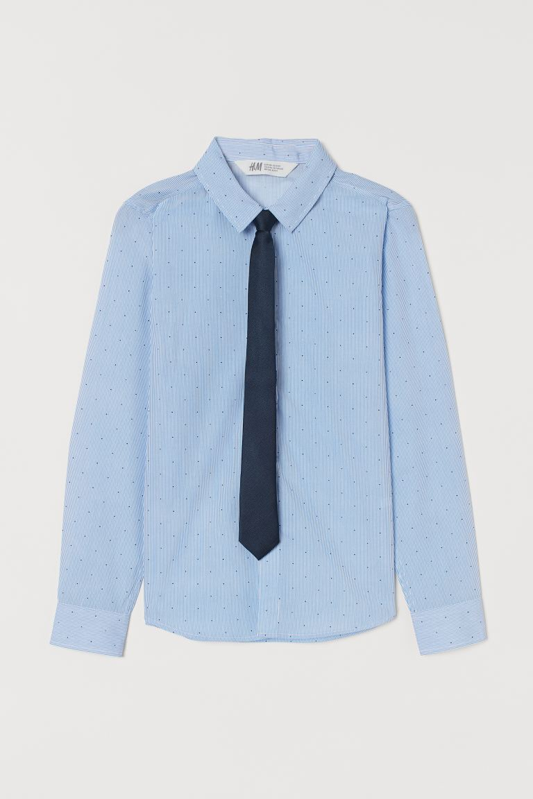Shirt with a tie/bow tie - Light blue/Tie - Kids | H&M