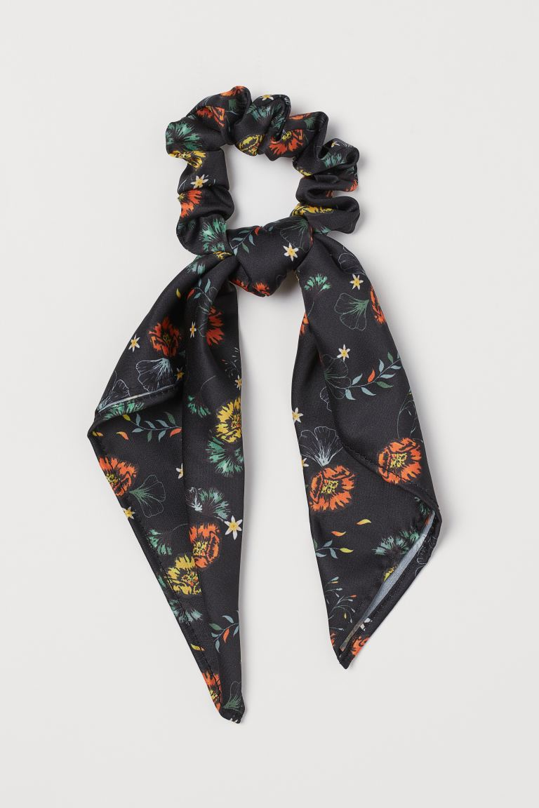 Scarf-detail Scrunchie - Black/floral - Ladies | H&M CA