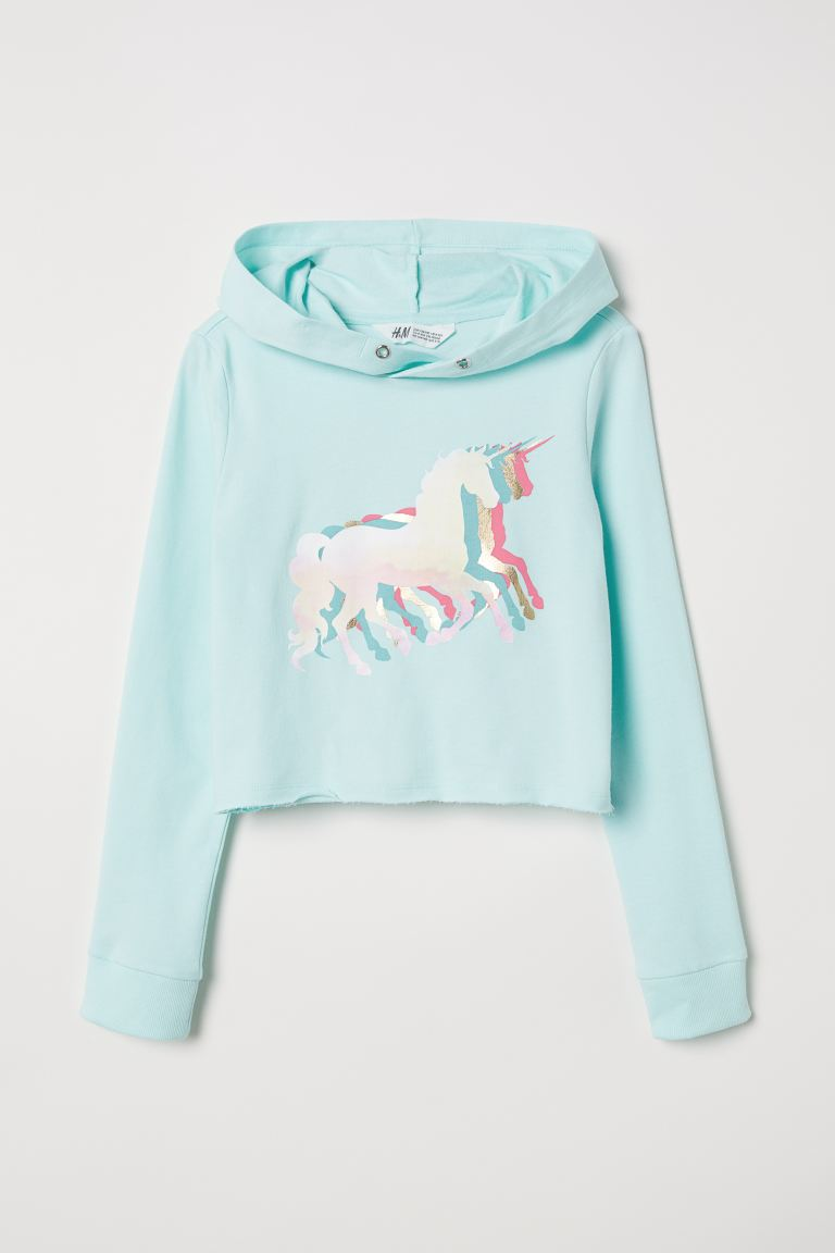 Short hooded top - Light turquoise/Unicorns - Kids | H&M