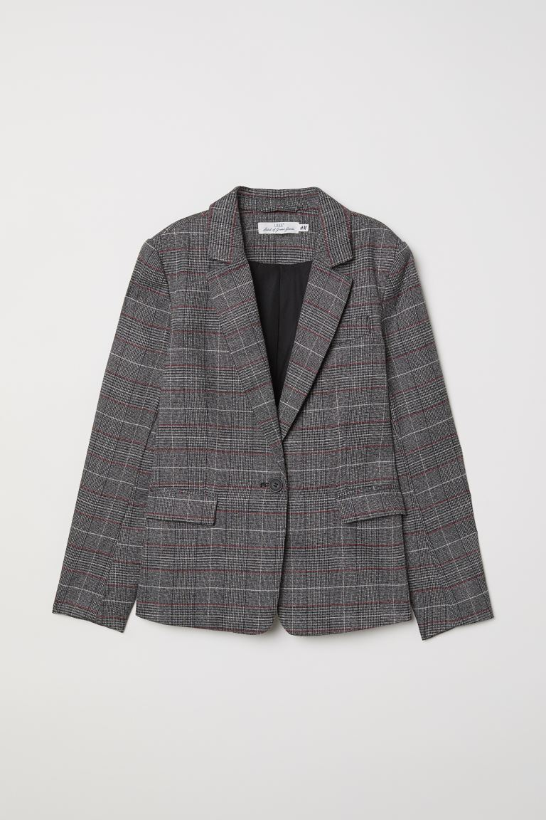 Checked jacket - Dark grey/Checked - Ladies | H&M IE