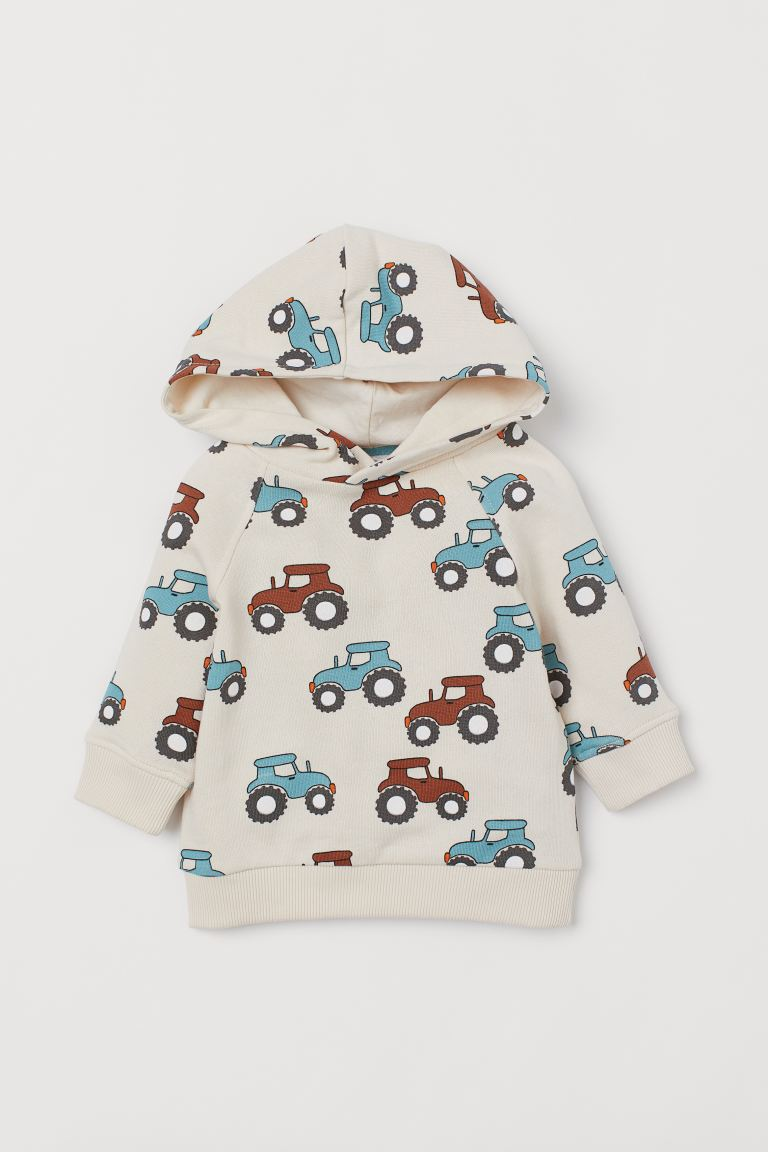 Cotton hooded top - Light beige/Tractors - Kids | H&M IN