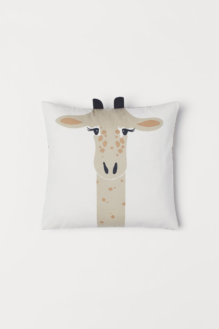 Cotton twill cushion cover - Natural white/Giraffe - Home All | H&M IE