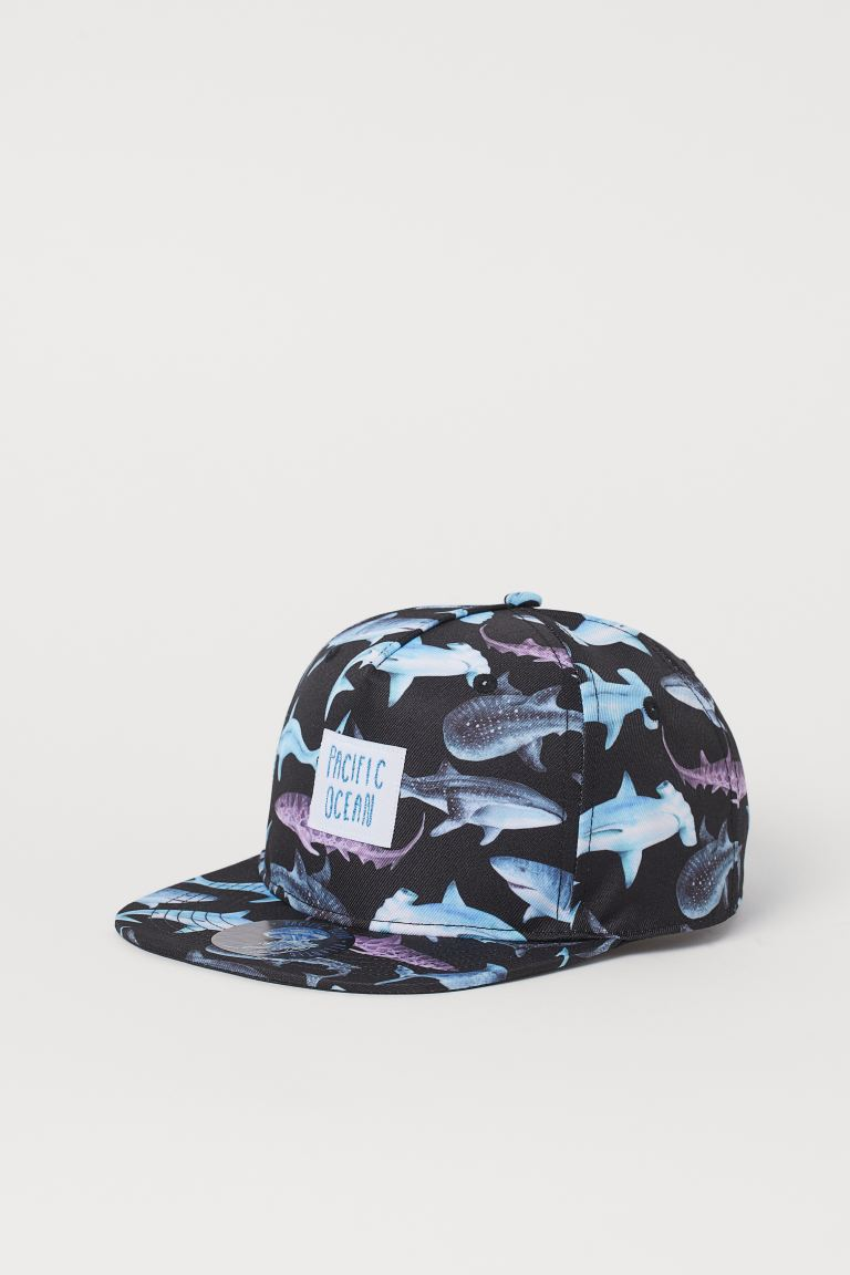 Patterned cap - Black/Sharks - Kids | H&M GB