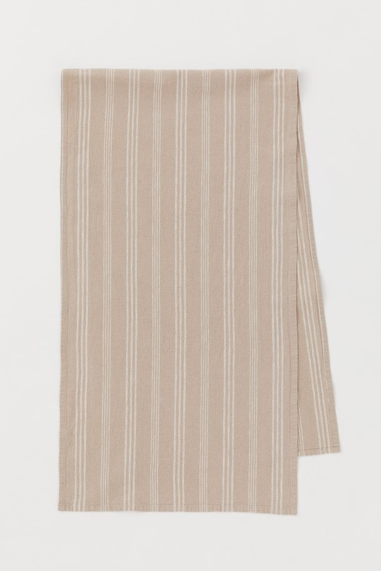 Runner in misto lino - Beige/bianco righe - HOME | H&M IT