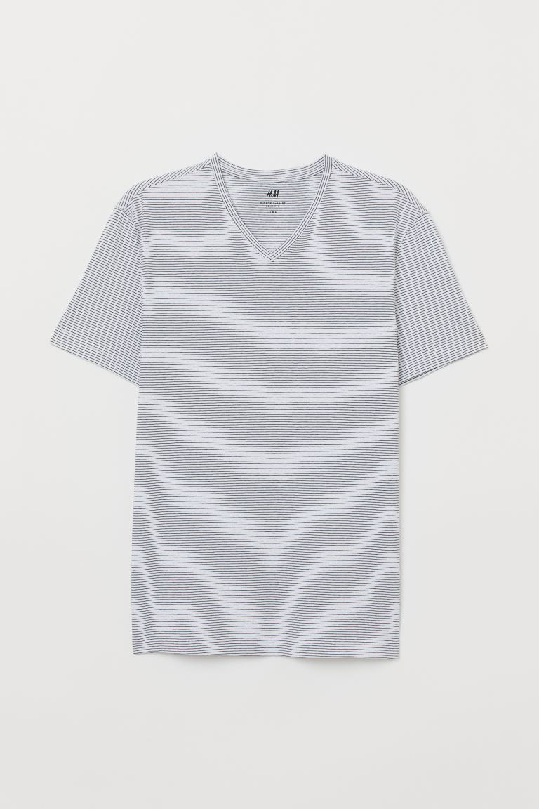 V-neck T-shirt Slim Fit - White/Black striped - Men | H&M
