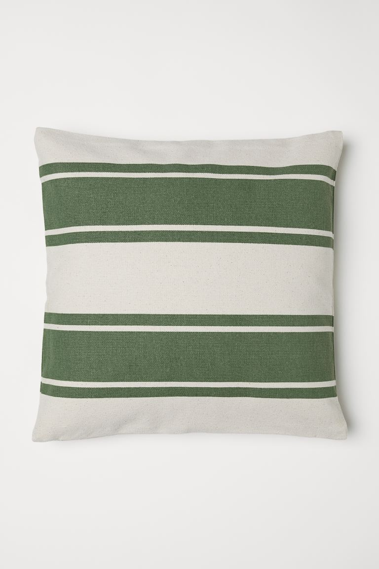 Striped Cushion Cover - Green/natural white - Home All | H&M US