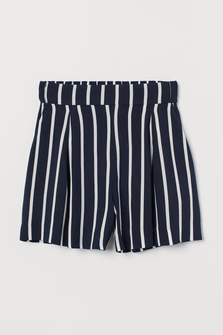 Wide-cut Shorts - Dark blue/white striped - Ladies | H&M US