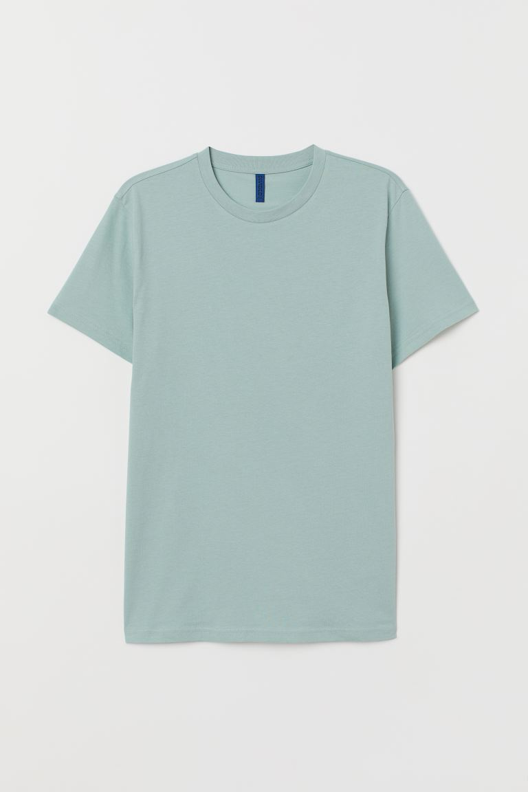 Round-neck T-shirt Regular Fit - Turquoise - Men | H&M IN