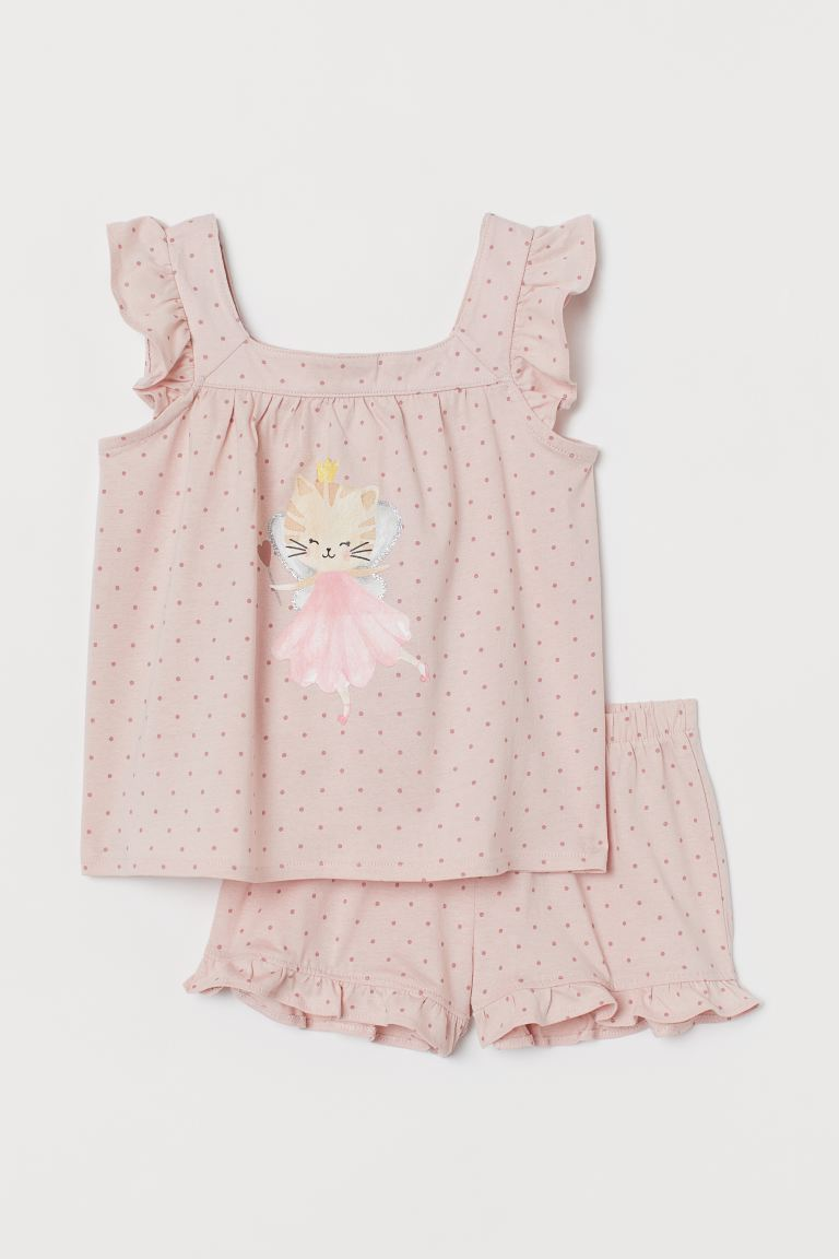 Jersey pyjamas - Powder pink/Cat fairy -  | H&M