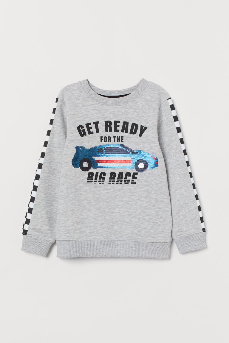 Top with reversible sequins - Light grey marl/Rally car - Kids | H&M GB