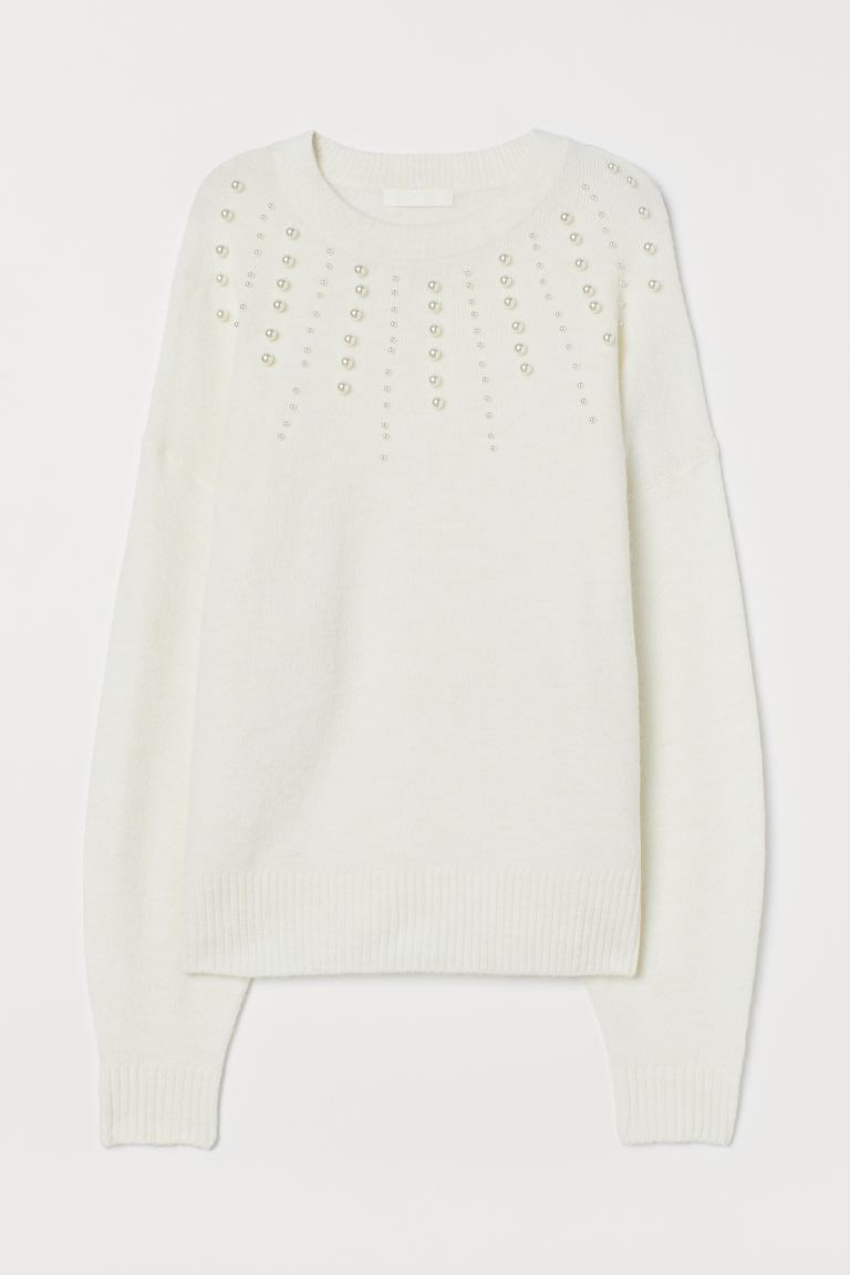 Knitted jumper with beads - White - Ladies | H&M GB
