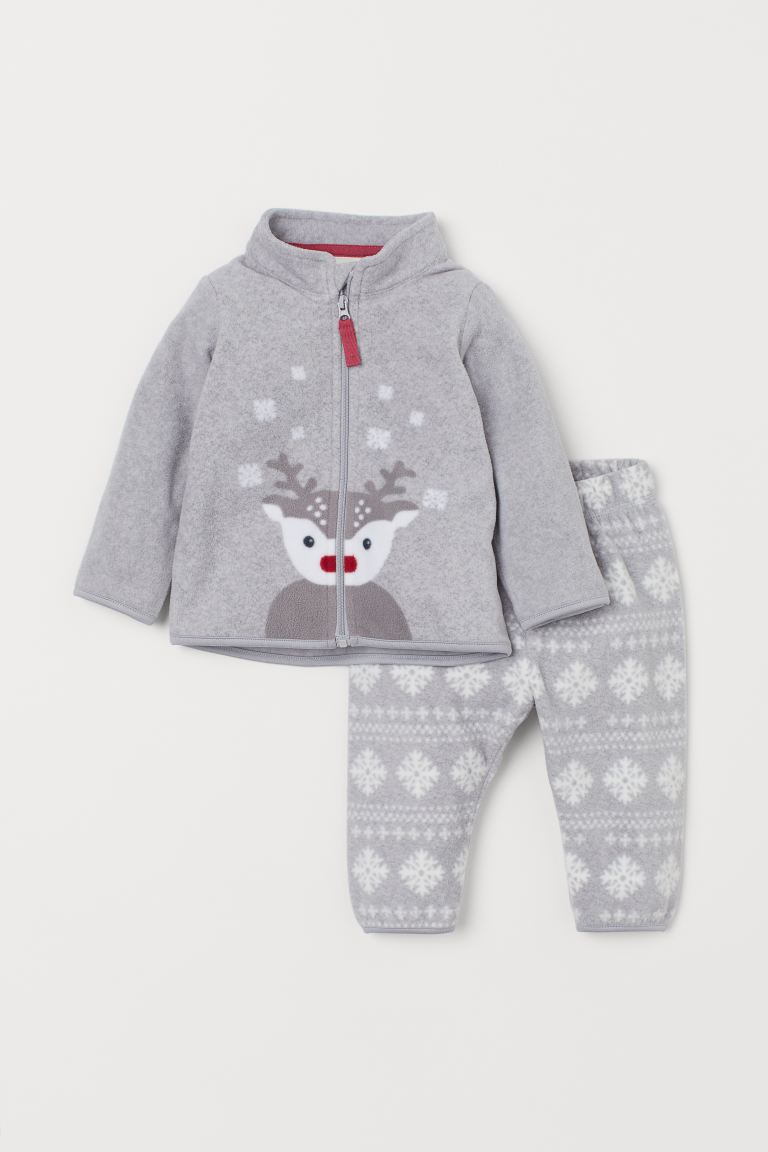 Fleece jacket and trousers - Light grey/Reindeer - Kids | H&M