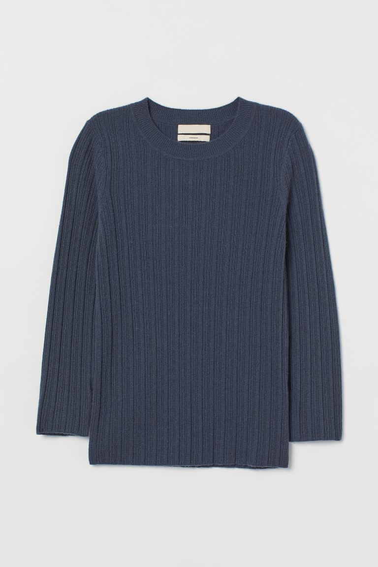 Rib-knit Cashmere Sweater - Dark pigeon blue - Ladies | H&M US