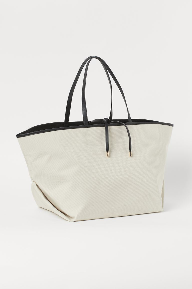 Oversized Canvas Shopper - Light beige/black - Ladies | H&M CA