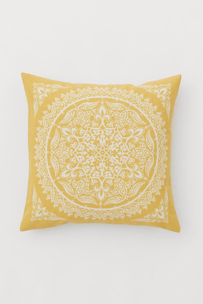 Patterned Cotton Cushion Cover - Yellow/patterned - Home All | H&M CA