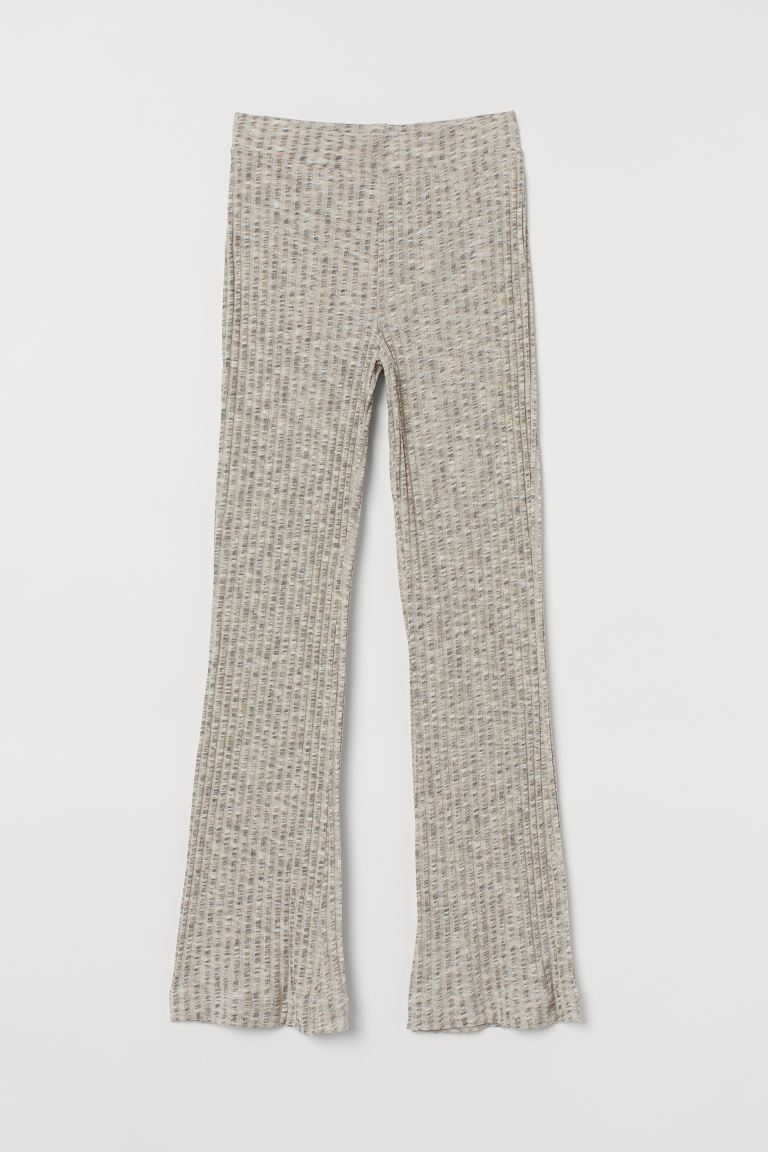 Ribbed trousers - Light beige marl - Ladies | H&M IN
