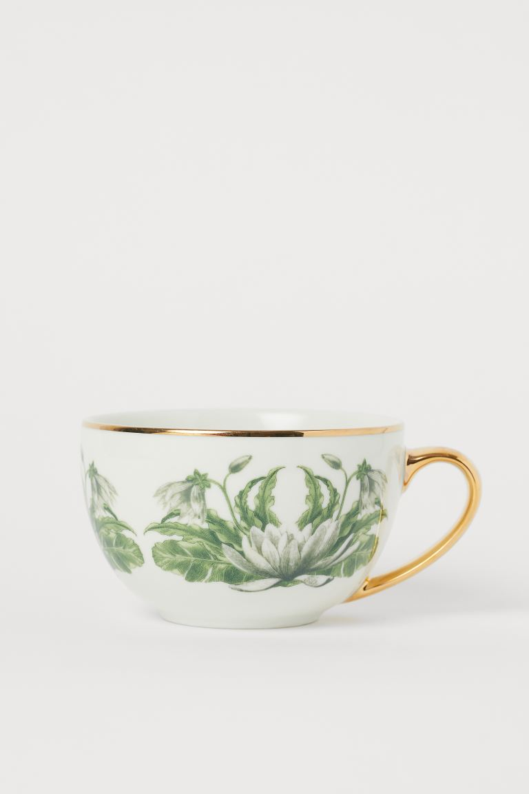 Porcelain cup - White/Leaves - Home All | H&M GB