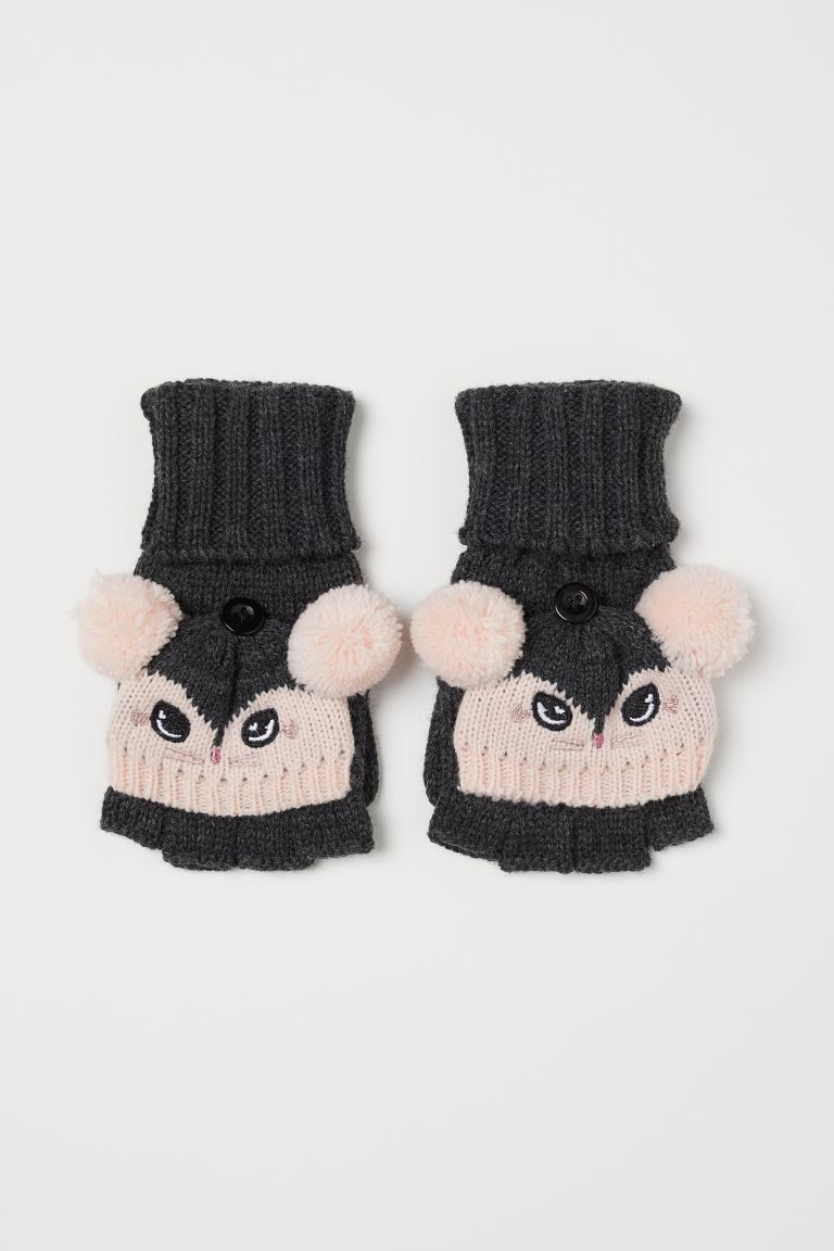 Mittens/fingerless gloves - Dark grey/Mouse -    H&M GB