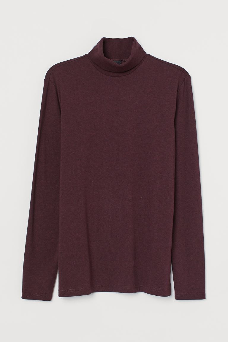 Polo-neck top Muscle Fit - Dark red marl - Men | H&M IE