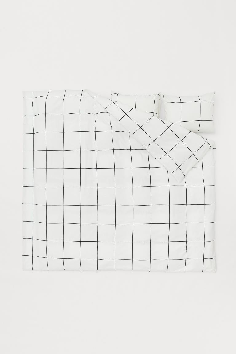Checked duvet cover set - White/Black checked - Home All | H&M IE