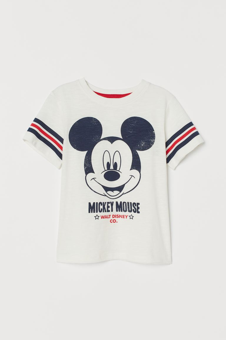 Printed T-shirt - White/Mickey Mouse -  | H&M