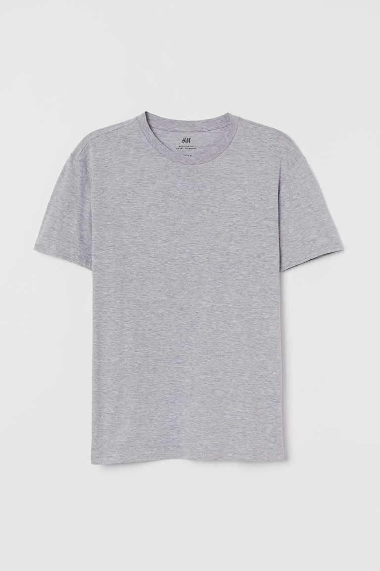 Round-neck T-shirt Regular Fit - Light grey marl - Men | H&M